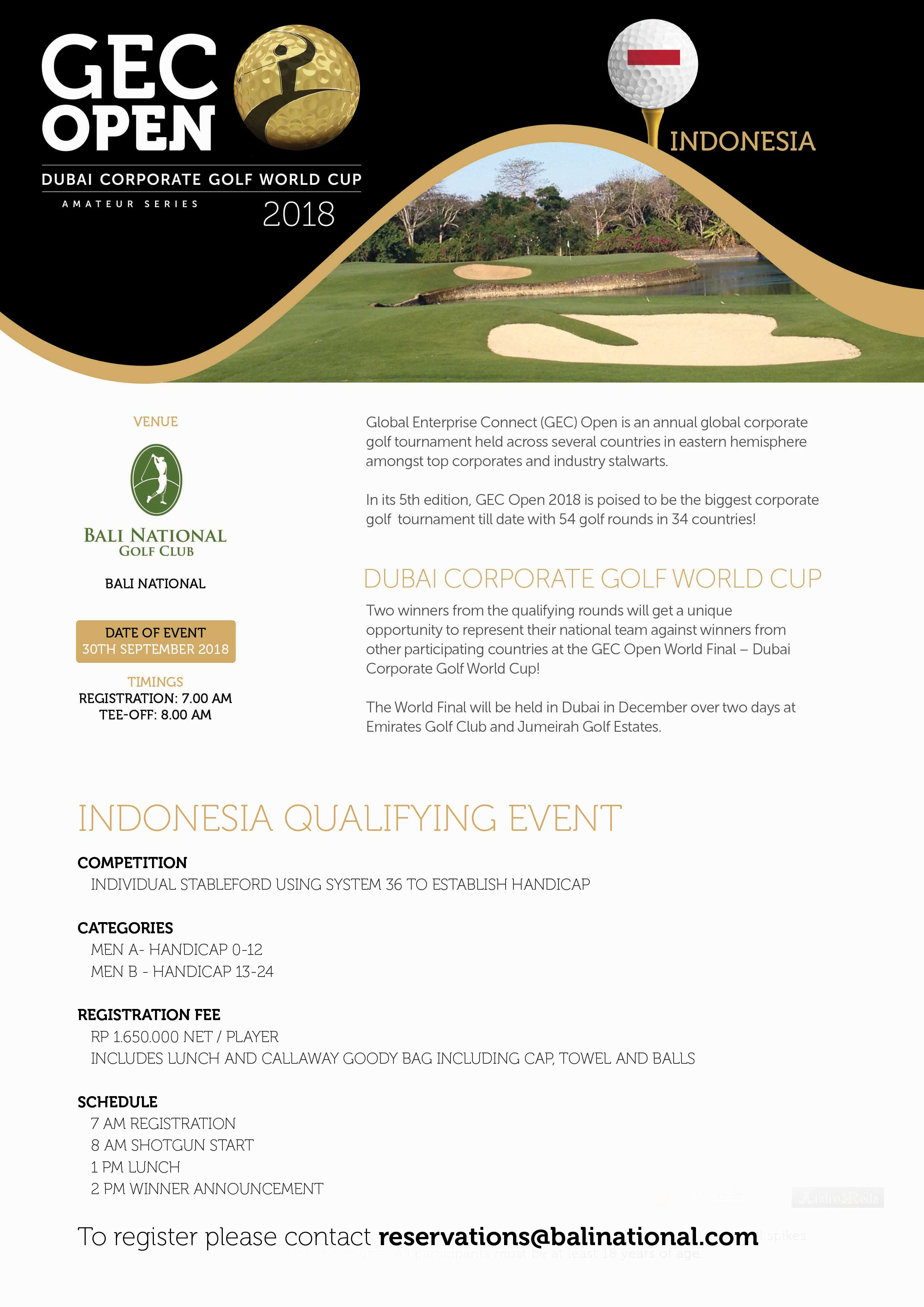GEC OPEN - DUBAI CORPORATE GOLF WORLD CUP 2018